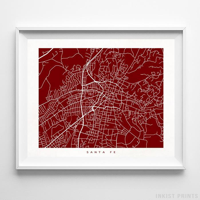 Santa Fe, New Mexico Street Map Print - Inkist Prints