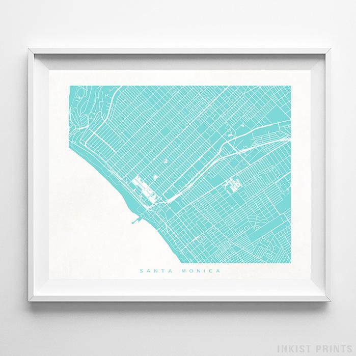 Santa Monica, California Street Map Horizontal Print