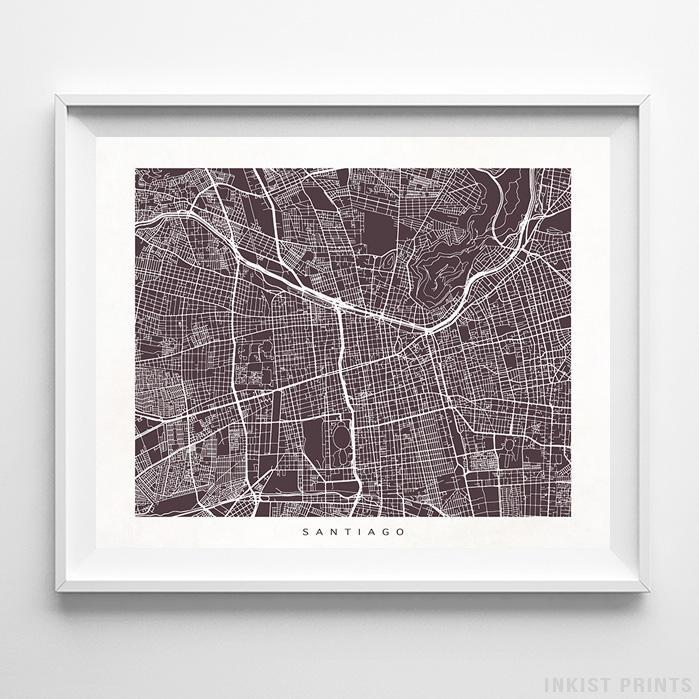 Santiago, Chile Street Map Horizontal Print-Poster-Wall_Art-Home_Decor-Inkist_Prints