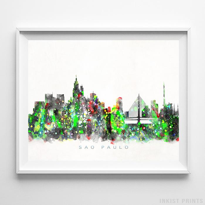 Sao Paulo, Brazil Skyline Watercolor Print-Poster-Wall_Art-Home_Decor-Inkist_Prints