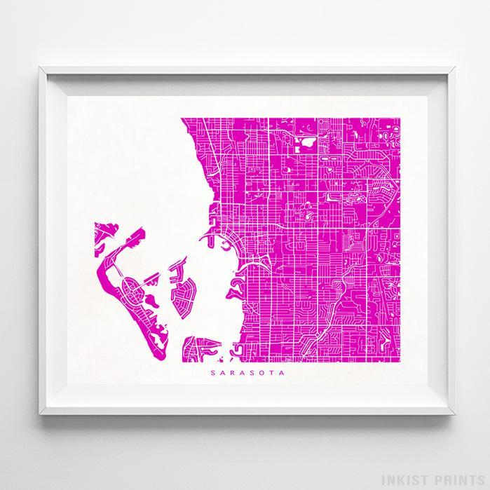 Sarasota, Florida Street Map Horizontal Print-Poster-Wall_Art-Home_Decor-Inkist_Prints