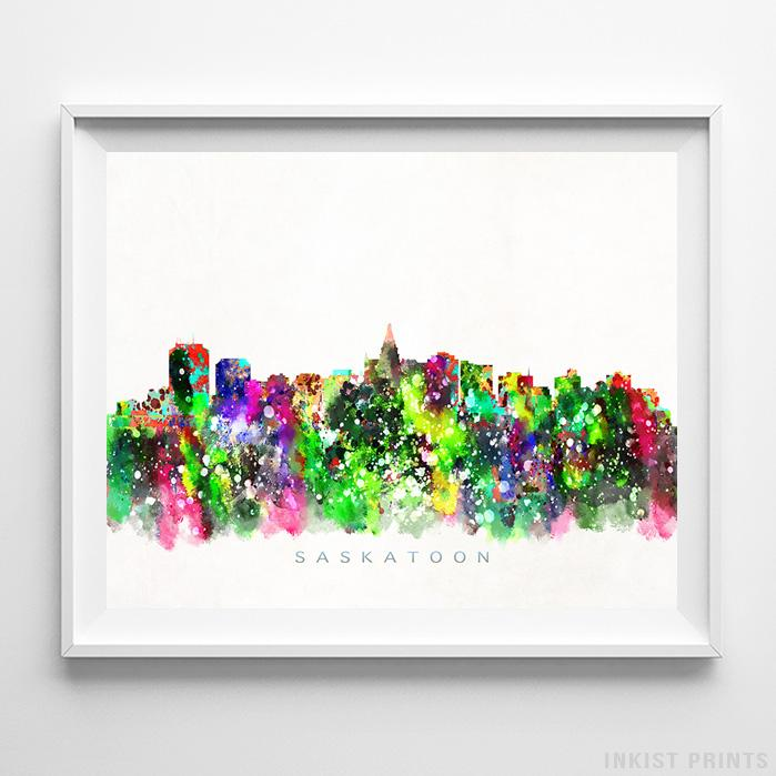 Saskatoon, Canada Skyline Watercolor Print-Poster-Wall_Art-Home_Decor-Inkist_Prints