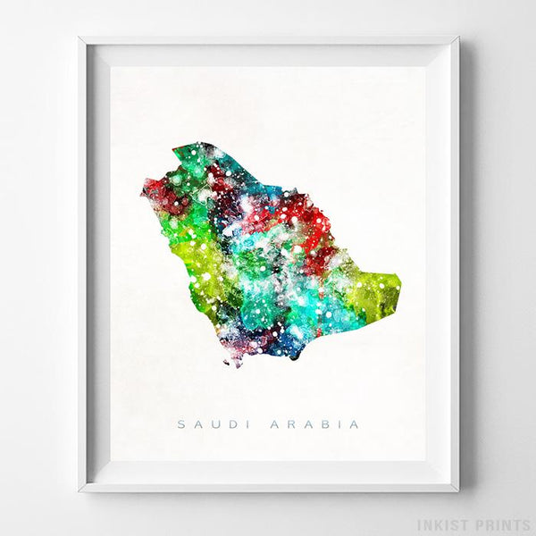 Saudi Arabia Watercolor Map Print-Poster-Wall_Art-Home_Decor-Inkist_Prints