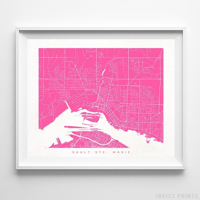 Sault Ste. Marie, Canada Street Map Horizontal Print-Poster-Wall_Art-Home_Decor-Inkist_Prints