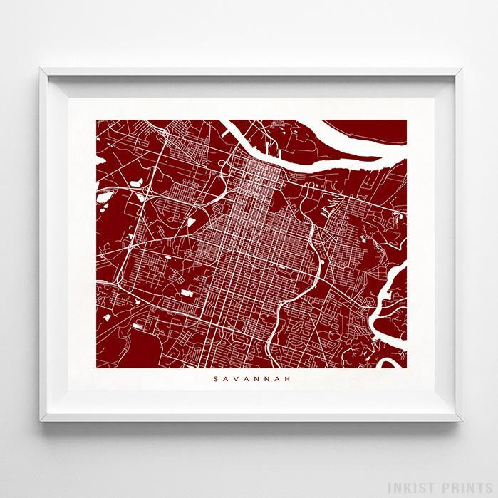 Savannah, Georgia Street Map Horizontal Print-Poster-Wall_Art-Home_Decor-Inkist_Prints