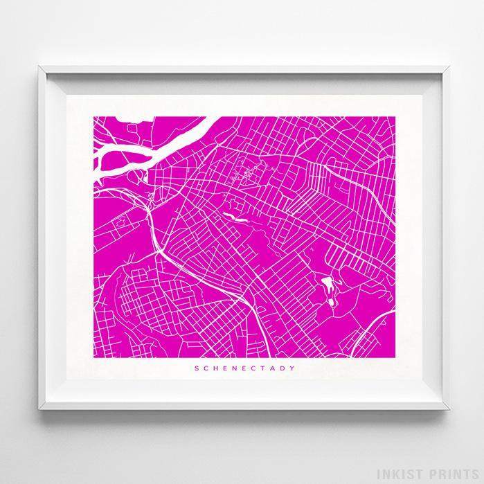 Schenectady, New York Street Map Horizontal Print-Poster-Wall_Art-Home_Decor-Inkist_Prints