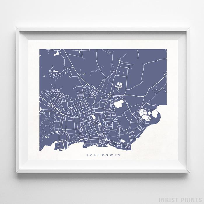 Schleswig, Germany Street Map Horizontal Print-Poster-Wall_Art-Home_Decor-Inkist_Prints
