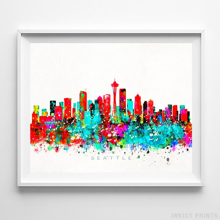Seattle, Washington Skyline Watercolor Print Wall Art Poster by Inkist Prints