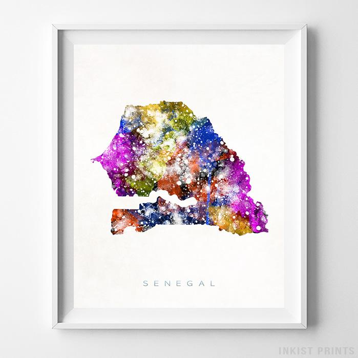 Senegal Watercolor Map Print-Poster-Wall_Art-Home_Decor-Inkist_Prints