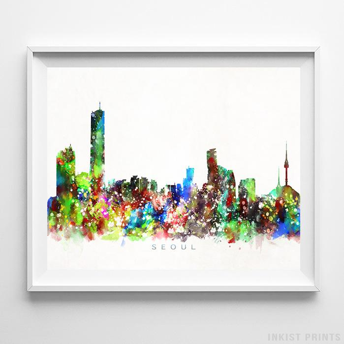 Seoul, South Korea Skyline Watercolor Print-Poster-Wall_Art-Home_Decor-Inkist_Prints