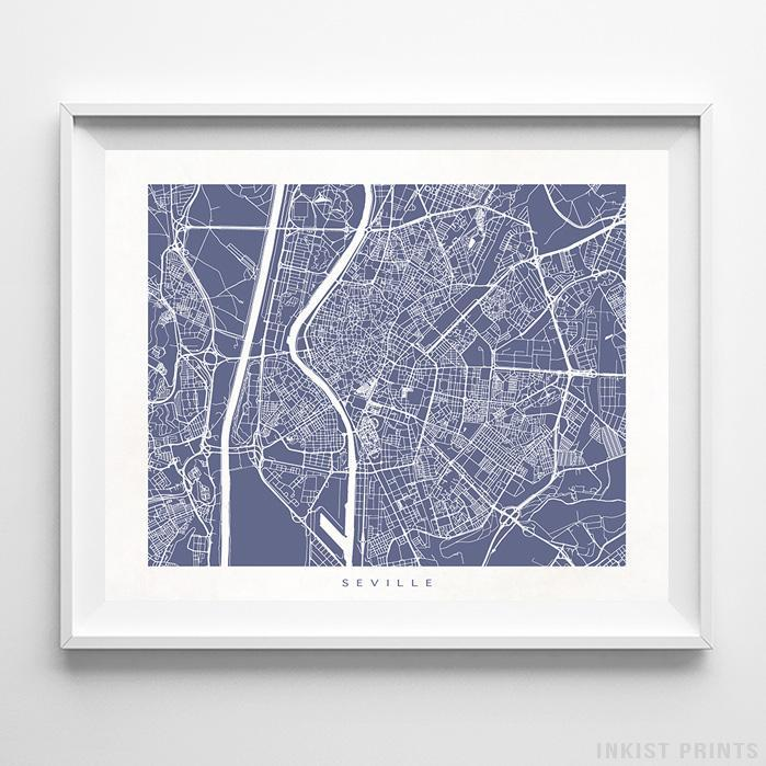 Seville, Spain Street Map Horizontal Print-Poster-Wall_Art-Home_Decor-Inkist_Prints