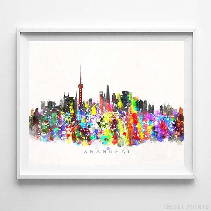 Shanghai, China Skyline Watercolor Print - Inkist Prints