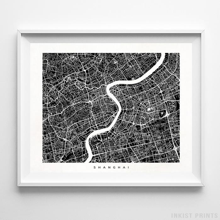 Shanghai, China Street Map Horizontal Print-Poster-Wall_Art-Home_Decor-Inkist_Prints