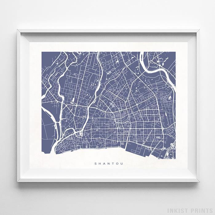 Shantou, China Street Map Horizontal Print-Poster-Wall_Art-Home_Decor-Inkist_Prints