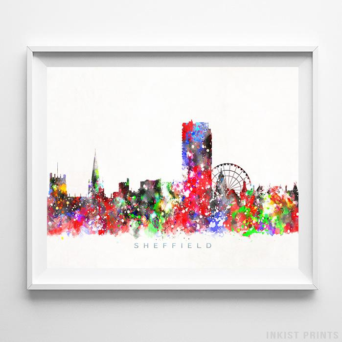 Sheffield, England Skyline Watercolor Print - Inkist Prints