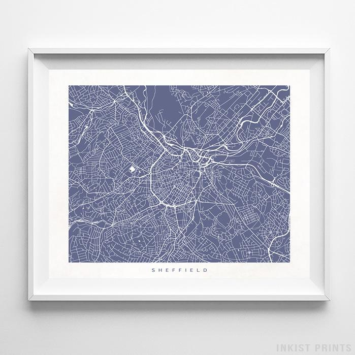 Sheffield, England Street Map Horizontal Print-Poster-Wall_Art-Home_Decor-Inkist_Prints