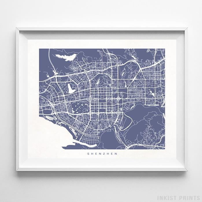 Shenzhen, China Street Map Horizontal Print-Poster-Wall_Art-Home_Decor-Inkist_Prints