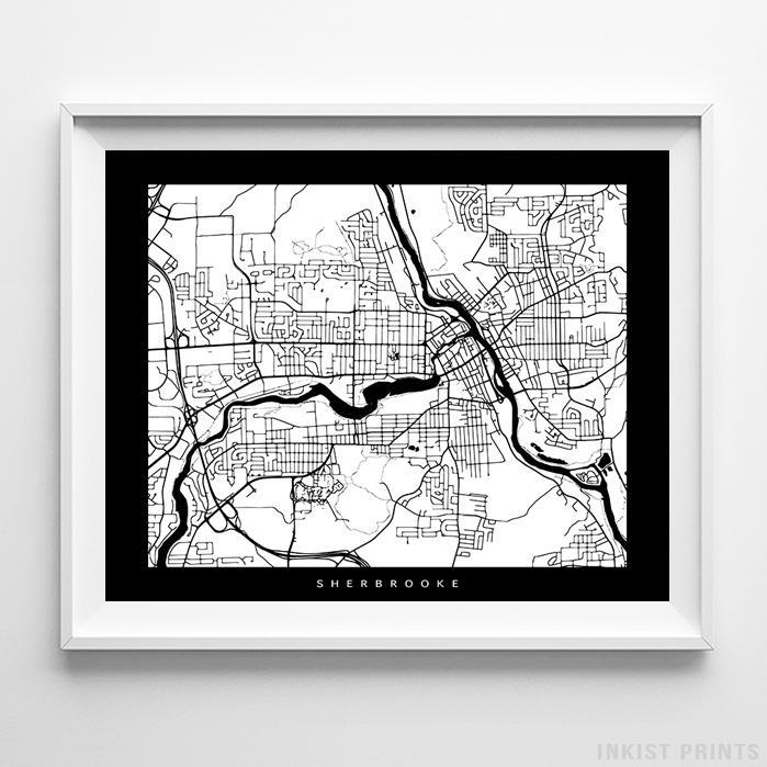 Sherbrooke, Canada Street Map Horizontal Print-Poster-Wall_Art-Home_Decor-Inkist_Prints