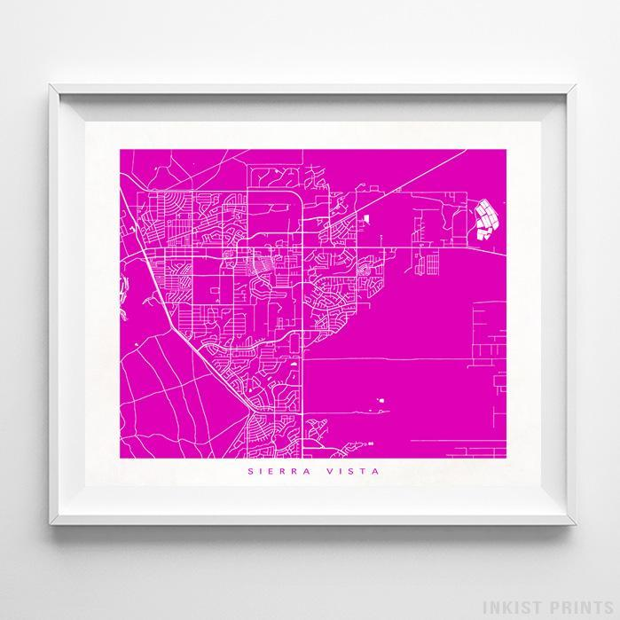 Sierra Vista, Arizona Street Map Horizontal Print-Poster-Wall_Art-Home_Decor-Inkist_Prints