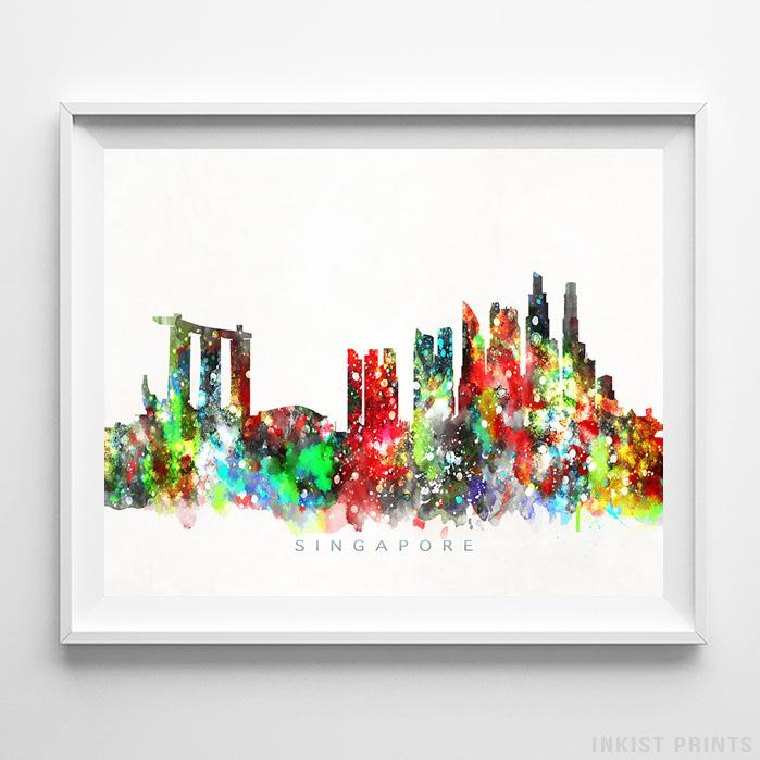 Singapore Skyline Watercolor Print-Poster-Wall_Art-Home_Decor-Inkist_Prints