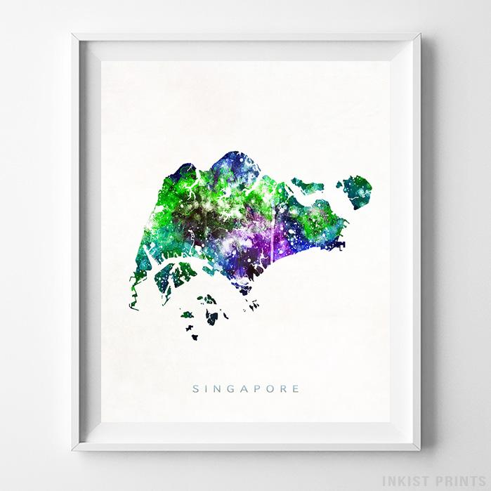 Singapore Watercolor Map Print-Poster-Wall_Art-Home_Decor-Inkist_Prints