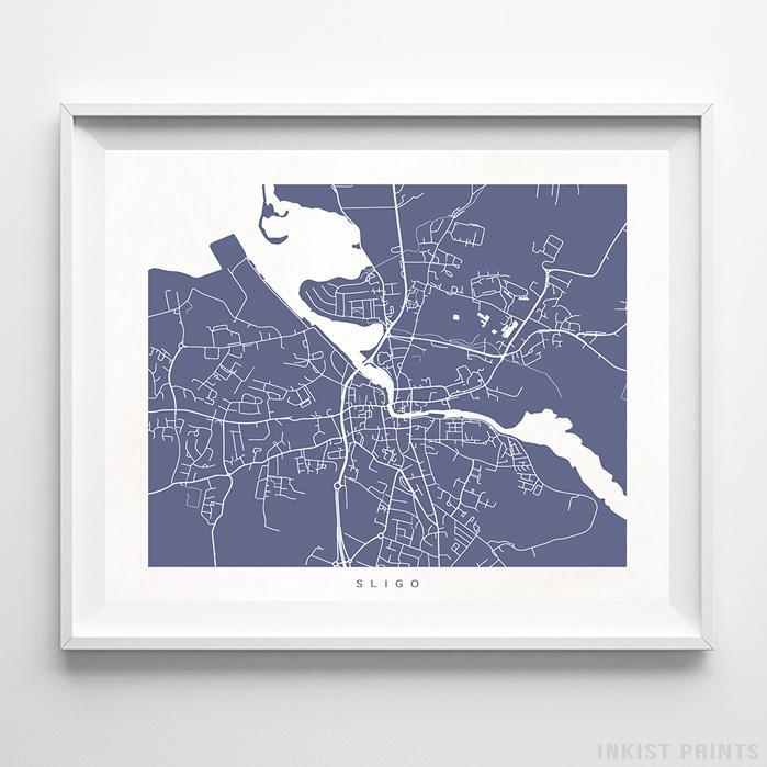 Sligo, Ireland Street Map Horizontal Print-Poster-Wall_Art-Home_Decor-Inkist_Prints