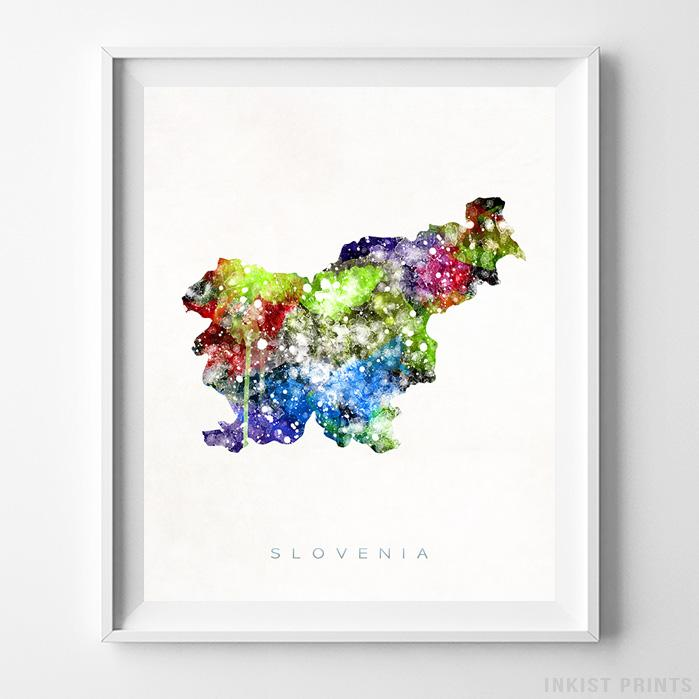 Slovenia Watercolor Map Print - Inkist Prints