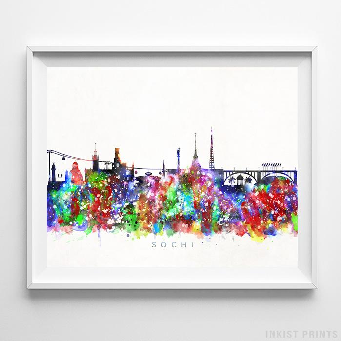 Sochi, Russia Skyline Watercolor Print-Poster-Wall_Art-Home_Decor-Inkist_Prints
