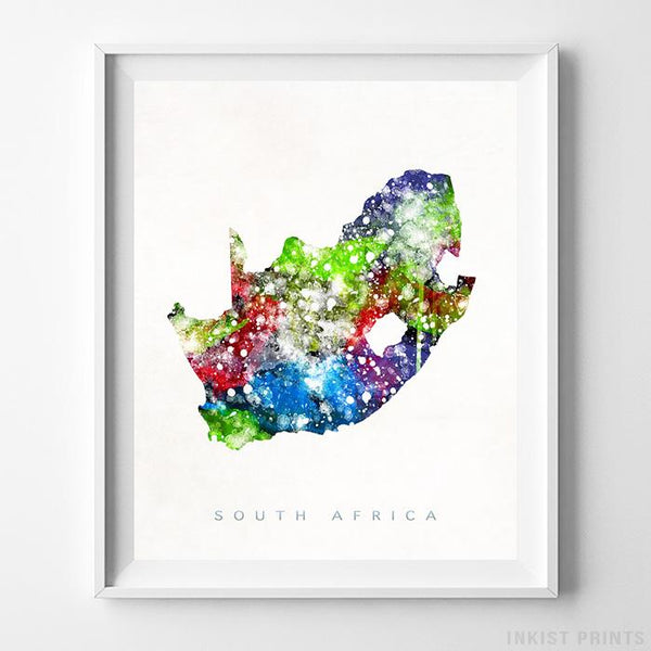South Africa Watercolor Map Print-Poster-Wall_Art-Home_Decor-Inkist_Prints
