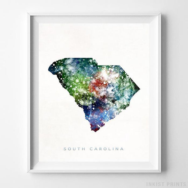 South Carolina Watercolor Map Print-Poster-Wall_Art-Home_Decor-Inkist_Prints