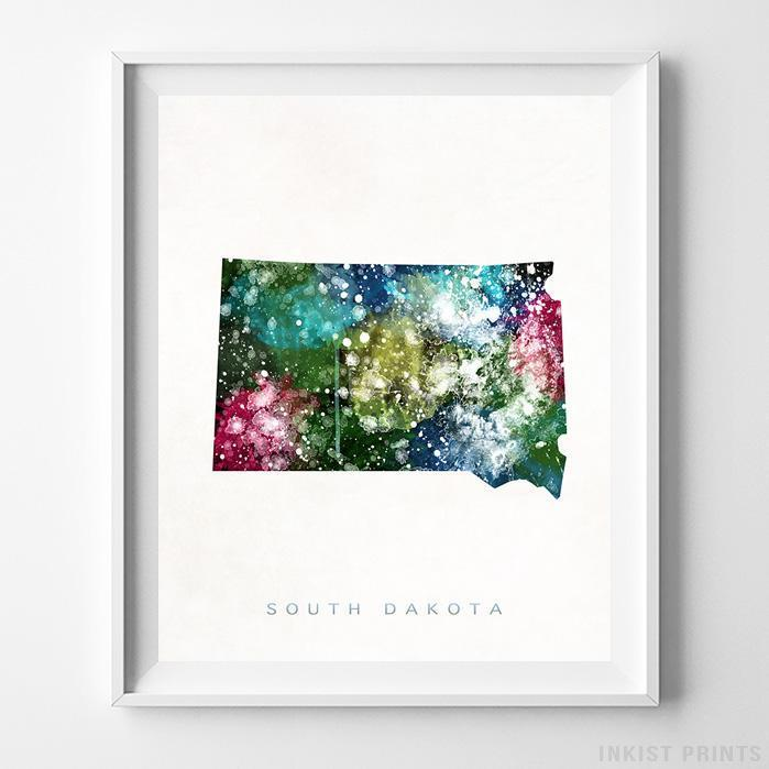 South Dakota Watercolor Map Print - Inkist Prints