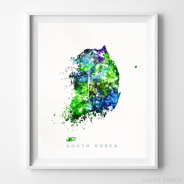 South Korea Watercolor Map Print-Poster-Wall_Art-Home_Decor-Inkist_Prints