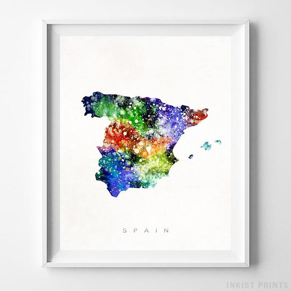 Spain Watercolor Map Print-Poster-Wall_Art-Home_Decor-Inkist_Prints