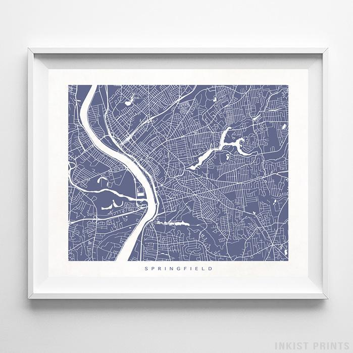 Springfield, Massachusetts Street Map Print - Inkist Prints