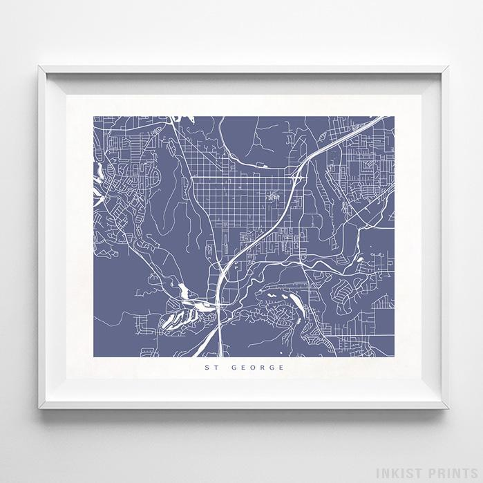 St George, Utah Street Map Horizontal Print-Poster-Wall_Art-Home_Decor-Inkist_Prints