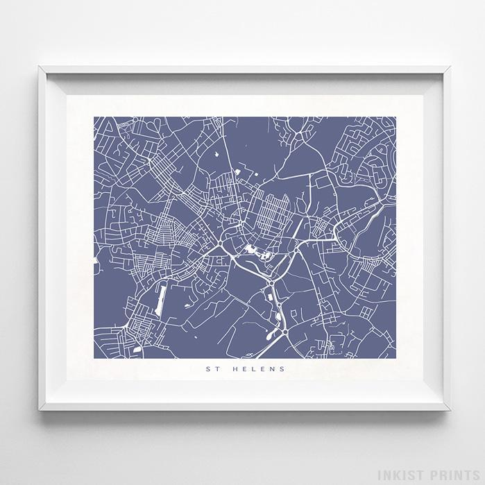 St Helens, England Street Map Horizontal Print-Poster-Wall_Art-Home_Decor-Inkist_Prints