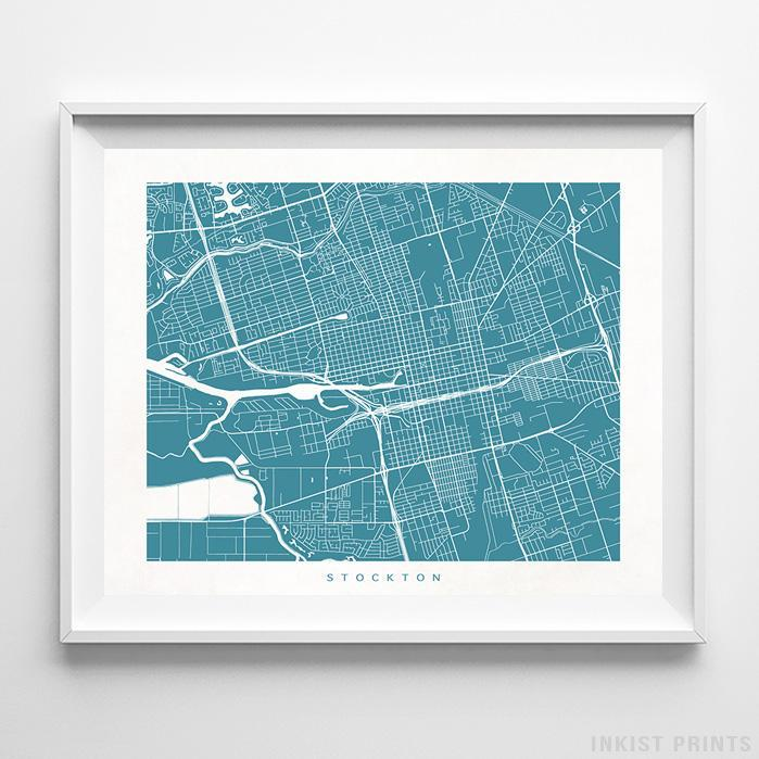 Stockton, California Street Map Horizontal Print-Poster-Wall_Art-Home_Decor-Inkist_Prints