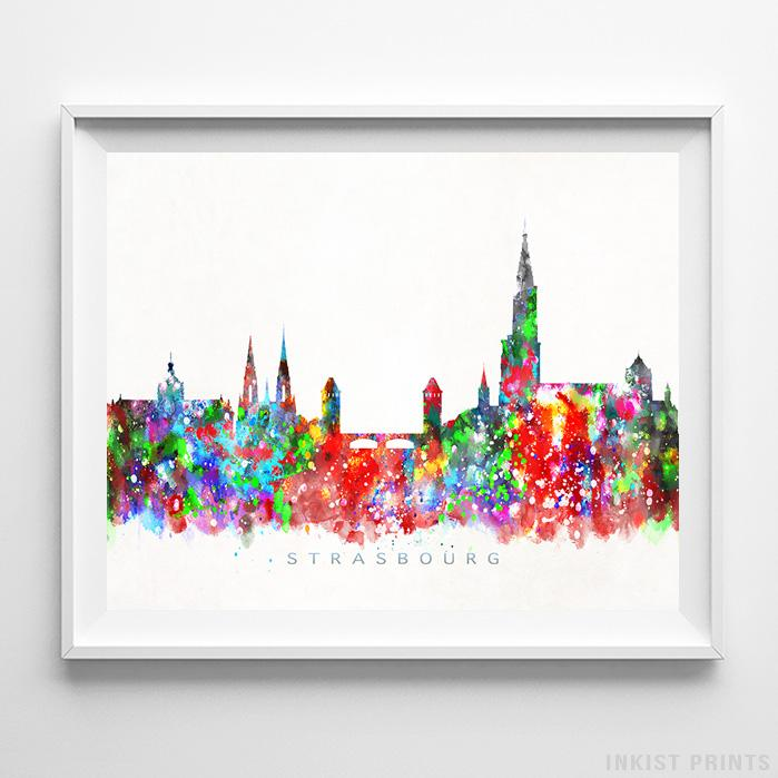 Strasbourg, France Skyline Watercolor Print-Poster-Wall_Art-Home_Decor-Inkist_Prints