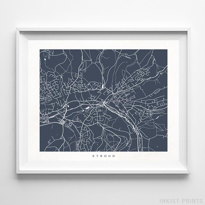Stroud, England Street Map Horizontal Print-Poster-Wall_Art-Home_Decor-Inkist_Prints