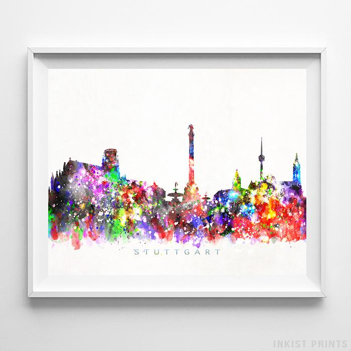 Stuttgart, Germany Skyline Watercolor Print-Poster-Wall_Art-Home_Decor-Inkist_Prints
