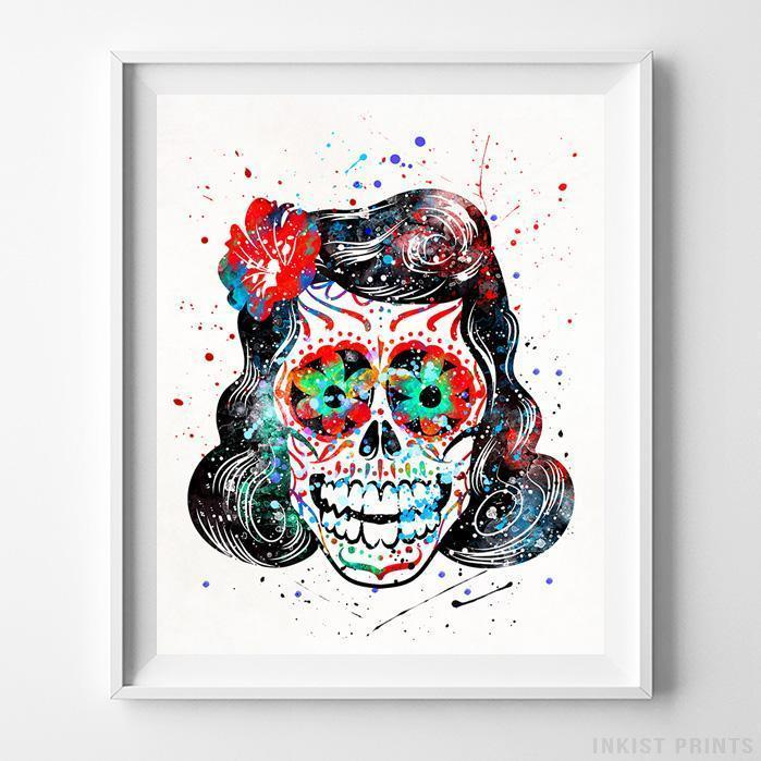 Sugar Skull Type 2 Print-Poster-Wall_Art-Home_Decor-Inkist_Prints