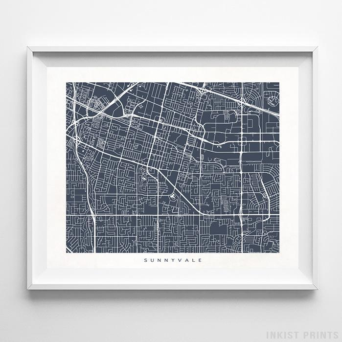 Sunnyvale, California Street Map Horizontal Print-Poster-Wall_Art-Home_Decor-Inkist_Prints