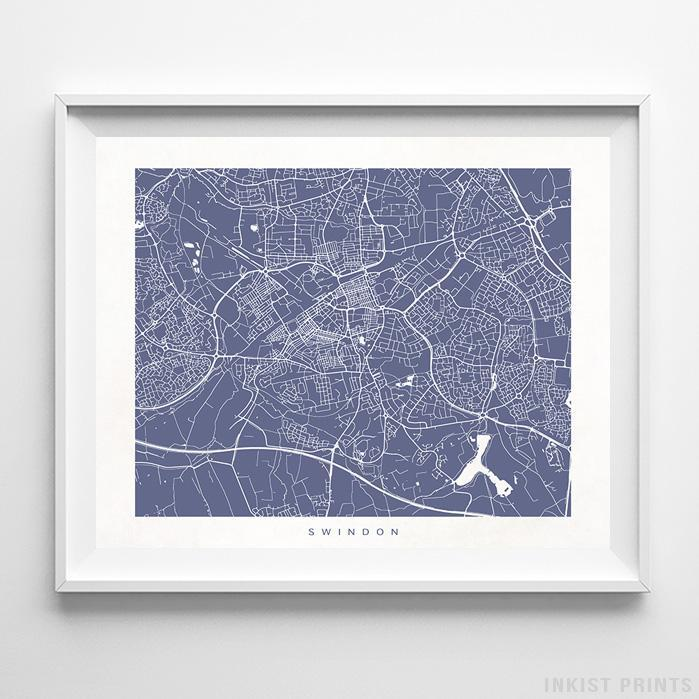 Swindon, England Street Map Horizontal Print-Poster-Wall_Art-Home_Decor-Inkist_Prints