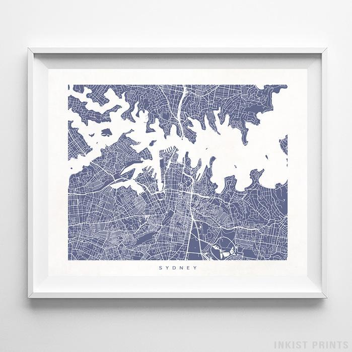 Sydney, Australia Street Map Horizontal Print-Poster-Wall_Art-Home_Decor-Inkist_Prints