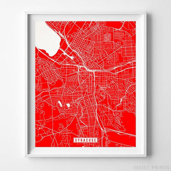 Syracuse, New York Street Map Vertical Print-Poster-Wall_Art-Home_Decor-Inkist_Prints