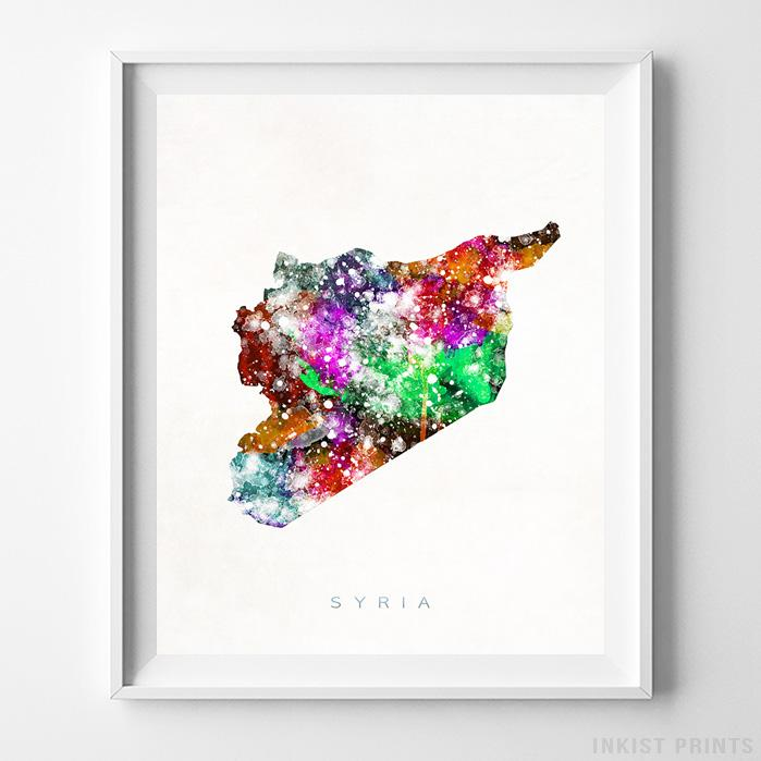 Syria Watercolor Map Print - Inkist Prints