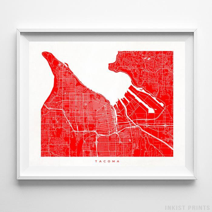 Tacoma, Washington Street Map Print Poster - Inkist Prints