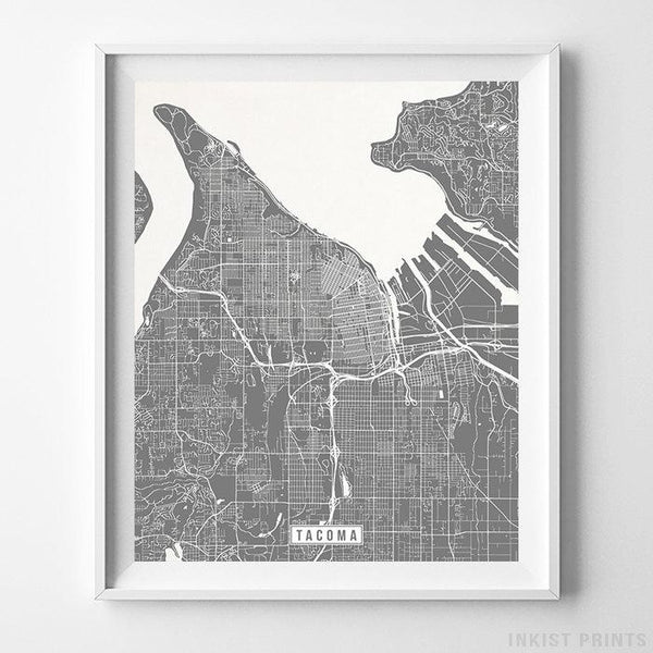 Tacoma, Washington Street Map Vertical Print-Poster-Wall_Art-Home_Decor-Inkist_Prints
