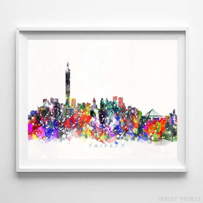 Taipei, Taiwan Skyline Watercolor Print - Inkist Prints