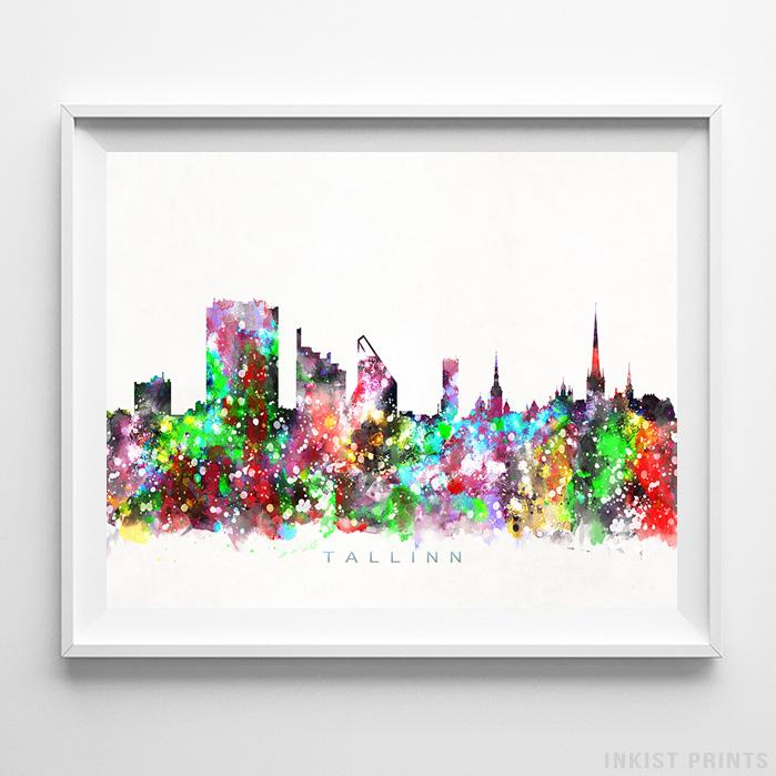 Tallinn, Estonia Skyline Watercolor Print - Inkist Prints